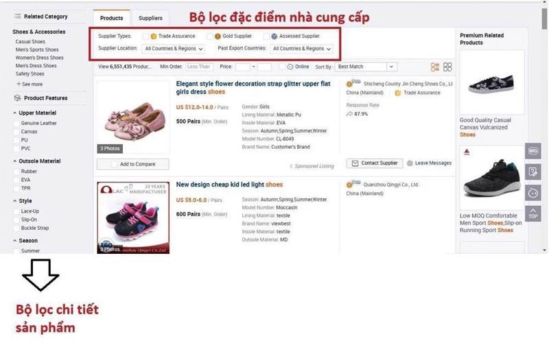 Cách lọc sản phẩm trên Alibaba